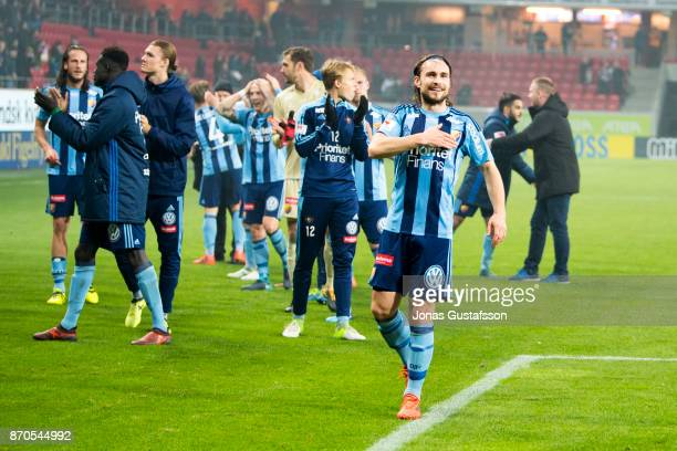 Kevin Walker of Djurgardens IF celebrates after the victory during the allsvenskan match between Kalmar FF and Djurgarden IF at Guldfageln Arena on...