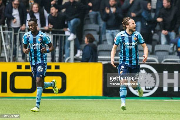 Kevin Walker of Djurgardens IF celebrates scoring the 11 goal during a match between Djurgardens IF and Hammarby IF at Tele2 Arena on April 29 2018...