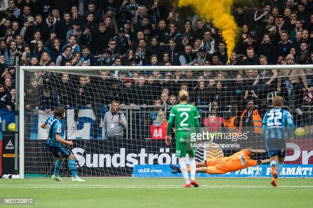 Kevin Walker of Djurgardens IF scores the 11 goal by penalty during a match between Djurgardens IF and Hammarby IF at Tele2 Arena on April 29 2018 in...