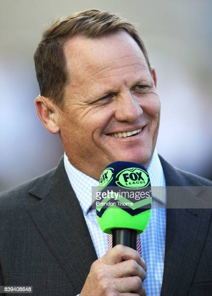 Kevin Walters speaks to Fox Sports prior to the round 25 NRL match between the Gold Coast Titans and the Canterbury Bulldogs at Cbus Super Stadium on...