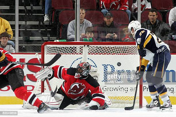 Kevin Weekes of the New Jersey Devils gives up a first period goal against the Buffalo Sabres on November 3 2008 at the Prudential Center in Newark...