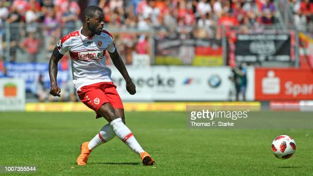 Kevin Weidlich of Cottbus kicks the ball during the 3. Liga match between FC Energie Cottbus and F.C. Hansa Rostock at Stadion der Freundschaft on...