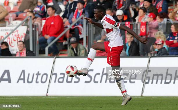 Kevin Weidlich of Cottbus runs with the ball during the 3 Liga match between FC Energie Cottbus and VfL Sportfreunde Lotte at Stadion der...