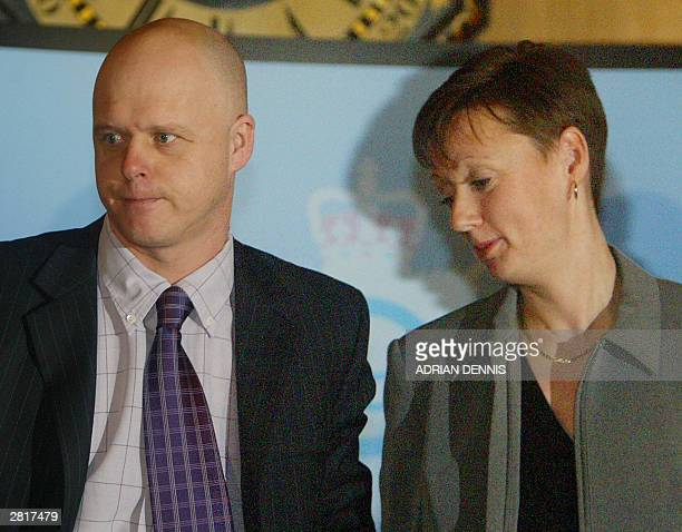 Kevin Wells and his wife Nicola stand at the end of a press conference after Ian Huntley was sentenced to two life terms in prison for murdering...