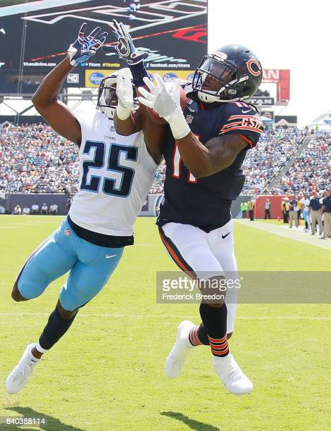 Kevin White of the Chicago Bears catches a pass in the end zone against Adoree' Jackson of the Tennessee Titans at Nissan Stadium on August 27 2017...