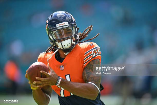 Kevin White of the Chicago Bears warming up before the game against the Miami Dolphins at Hard Rock Stadium on October 14 2018 in Miami Florida
