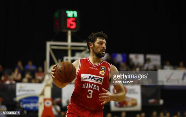 Kevin White of the Hawks controls the ball during the round 12 NBL match between the Illawarra Hawks and the Brisbane Roar at Wollongong...