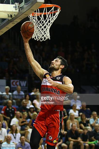 Kevin White of the Hawks drives to the basket during the round 16 NBL match between the Illawarra Hawks and the New Zealand Breakers at the...