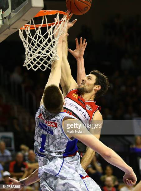 Kevin White of the Hawks drives to the basket during the second NBL Semi Final match between Illawarra Hawks and the Adelaide 36ers at WIN...