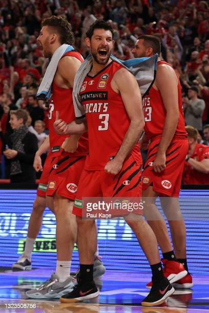 Kevin White of the Wildcats celebrates a basket during game three of the NBL Semi-Final Series between the Perth Wildcats and the Illawarra Hawks at...