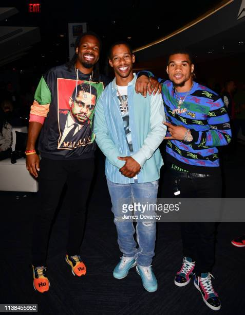 Kevin White Victor Cruz and Cre'Von LeBlanc attend Top Rank VIP party prior to the WBO welterweight title fight between Terence Crawford and Amir...