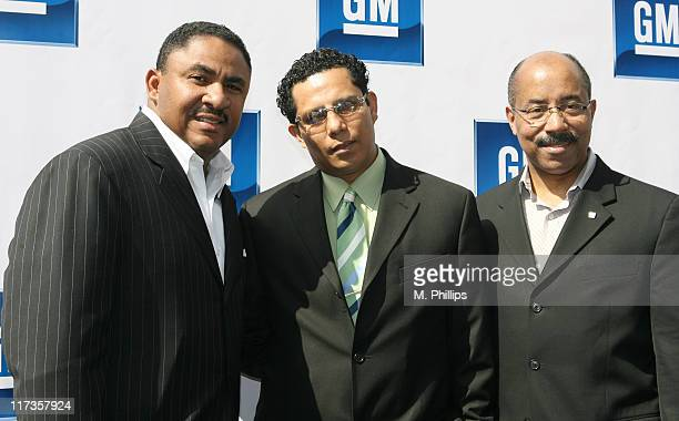 Kevin Williams Jesse Raudales and Rob Dylan during 4th Annual Stars and GM Cars Celebrity Brunch at Cabanna Club in Los Angeles CA United States