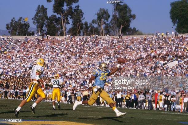 Kevin Williams, Running Back for the University of California, Los Angeles UCLA Bruins celebrates scoring a touchdown during the NCAA Pac-10...