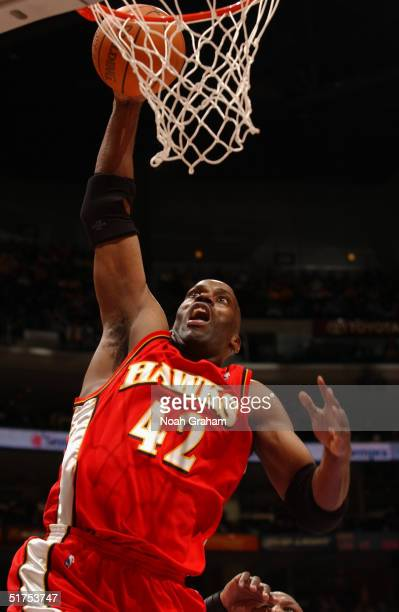 Kevin Willis of the Atlanta Hawks dunks against the Los Angeles Lakers during the game at Staples Center on November 7 2004 in Los Angeles California...