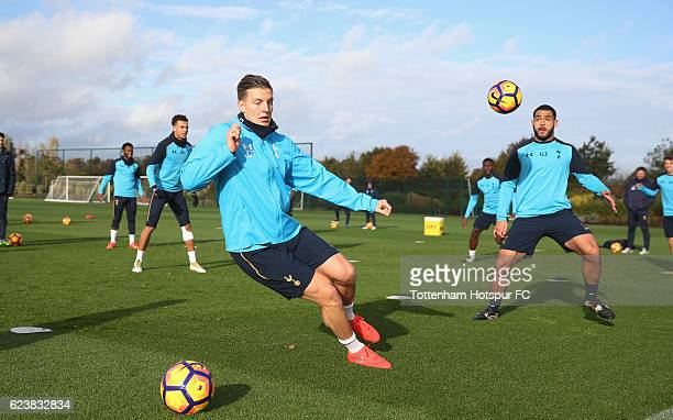 Kevin Wimmer and Cameron CarterVickers of Tottenham during the Tottenham Hotspur training session at Tottenham Hotspur Training Centre on November 17...