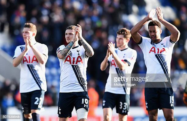 Kevin Wimmer Kieran Trippier Ben Davies and Mousa Dembele of Tottenham Hotspur applaud the away supporters after the Emirates FA Cup Fourth Round...
