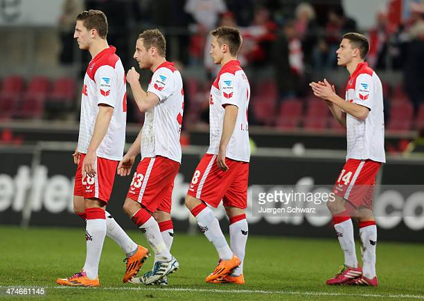Kevin Wimmer Matthias Lehmann Adam Matuschyk and Jonas Hector of Cologne leave the pitch after the 2nd Bundesliga match between 1 FC Koeln and...