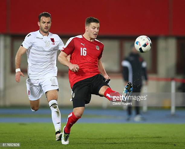 Kevin Wimmer of Austria controls the ball during the international friendly match between Austria and Albania at the ErnstHappelStadion on March 26...