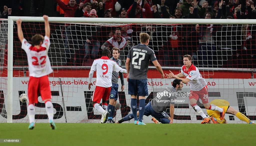 Kevin Wimmer of Cologne (R) celebrates after scoring during the 2nd Bundesliga match between 1. FC Koeln and Greuther Fuerth at RheinEnergieStadion on February 24, 2014 in Cologne, Germany.