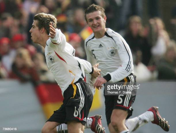 Kevin Wolze and Konstantin Rausch of Germany celebrate during the Men's U17 European Championship Qualifying match between Germany and Scotland on...