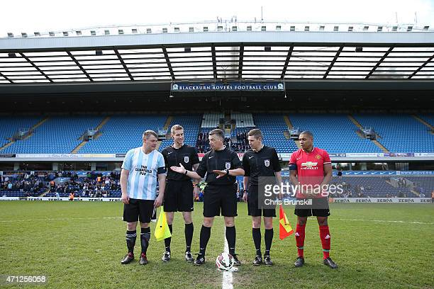 Kevin Wright of Campfield and Reece Lynch of OJM look on as referee Mark Haywood tosses a coin to choose ends ahead of the The FA Sunday Cup Final...