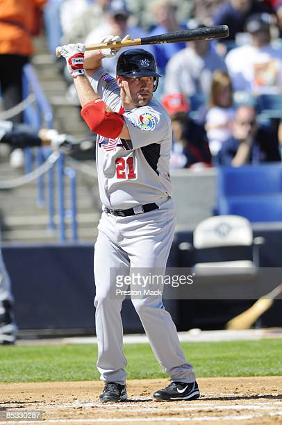 Kevin Youkilis of Team USA hits during the exhibition game against the New York Yankees prior to the 2009 World Baseball Classic on Tuesday March 3...