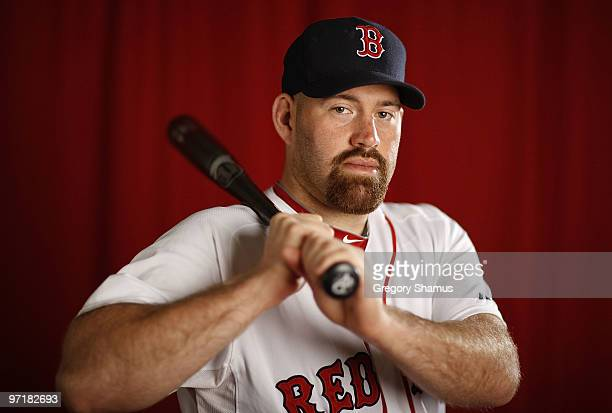 Kevin Youkilis of the Boston Red Sox poses during photo day at the Boston Red Sox Spring Training practice facility on February 28 2010 in Ft Myers...
