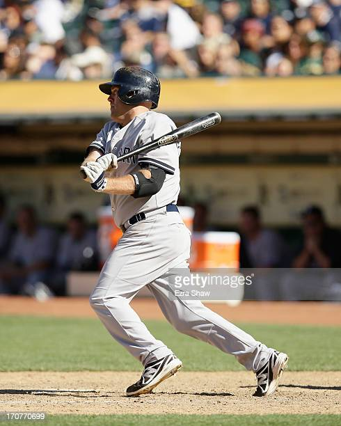 Kevin Youkilis of the New York Yankees bats against the Oakland Athletics at Oco Coliseum on June 13 2013 in Oakland California