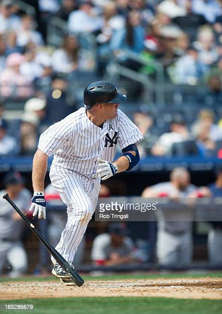 Kevin Youkilis of the New York Yankees bats during the Opening Day game against the Boston Red Sox on Monday April 1 2013 at Yankee Stadium in the...