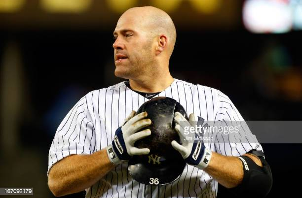 Kevin Youkilis of the New York Yankees in action against the Arizona Diamondbacks at Yankee Stadium on April 16 2013 in the Bronx borough of New York...