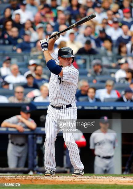 Kevin Youkilis of the New York Yankees in action against the Boston Red Sox during Opening Day at Yankee Stadium on April 1 2013 in the Bronx borough...