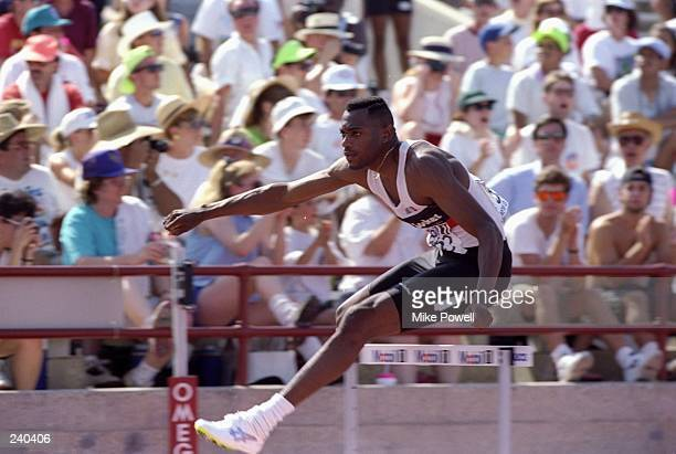 Kevin Young jumps over a hurdle during the US Olympic Trials in New Orleans Louisana Mandatory Credit Mike Powell /Allsport