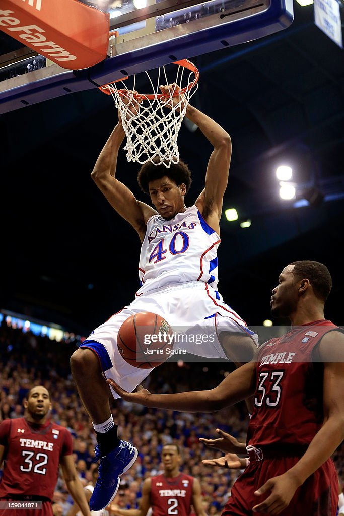 Kevin Young #40 of the Kansas Jayhawks dunks during the game against the Temple Owls at Allen Fieldhouse on January 6, 2013 in Lawrence, Kansas.