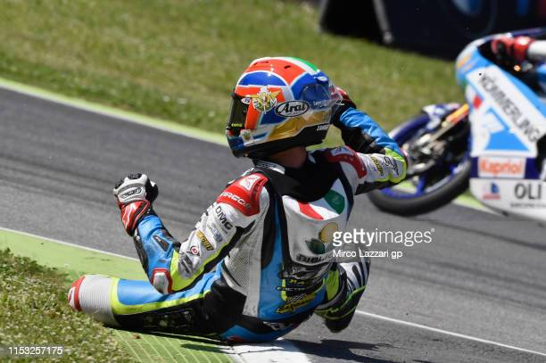 Kevin Zannoni of Italy and RGR TM Official Team crashed out during the Moto3 race during the MotoGp of Italy - Race at Mugello Circuit on June 02,...