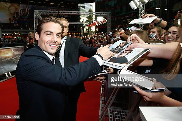 Kevin Zegers arrives for the 'The Mortal Instruments City of Bones' Germany premiere at Sony Centre on August 20 2013 in Berlin Germany