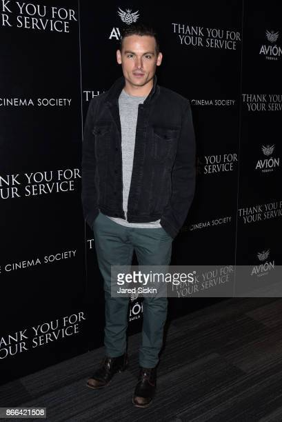 Kevin Zegers attends The Cinema Society Avion host a screening of DreamWorks and Universal Pictures' 'Thank You for Your Service' at The Landmark at...