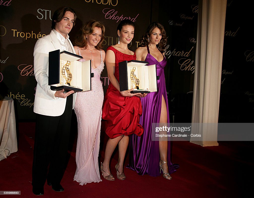 Kevin Zegers, Chopard President Caroline Gruosi-Scheufele, Jasmine Trincathe and Liz Hurley at the 'Chopard Party' during the 59th Cannes Film Festival.