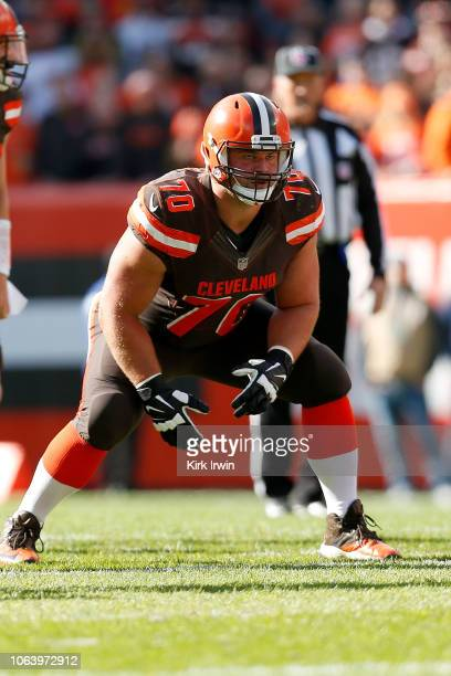 Kevin Zeitler of the Cleveland Browns waits for the ball to be snapped during the game against the Kansas City Chiefs at FirstEnergy Stadium on...