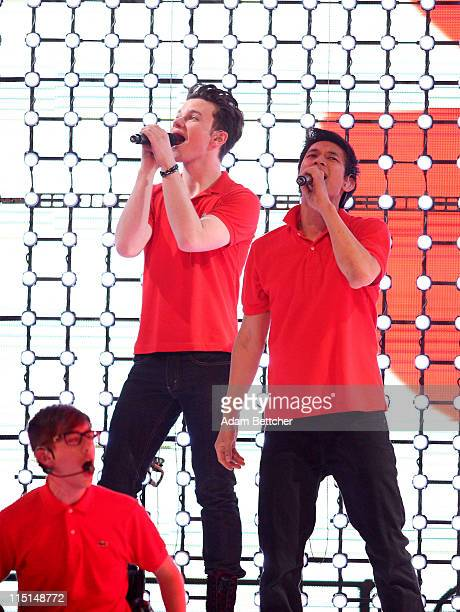 """KevinMcHale, Chris Colfer and Harry Shum, Jr., of the TV show """"Glee"""" perform during Glee Live! In Concert at Target Center on June 1, 2011 in..."""