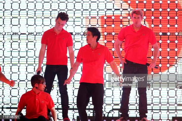 """KevinMcHale, Chris Colfer, Harry Shum, Jr., and Chord Overstreet of the TV show """"Glee"""" perform during Glee Live! In Concert at Target Center on June..."""