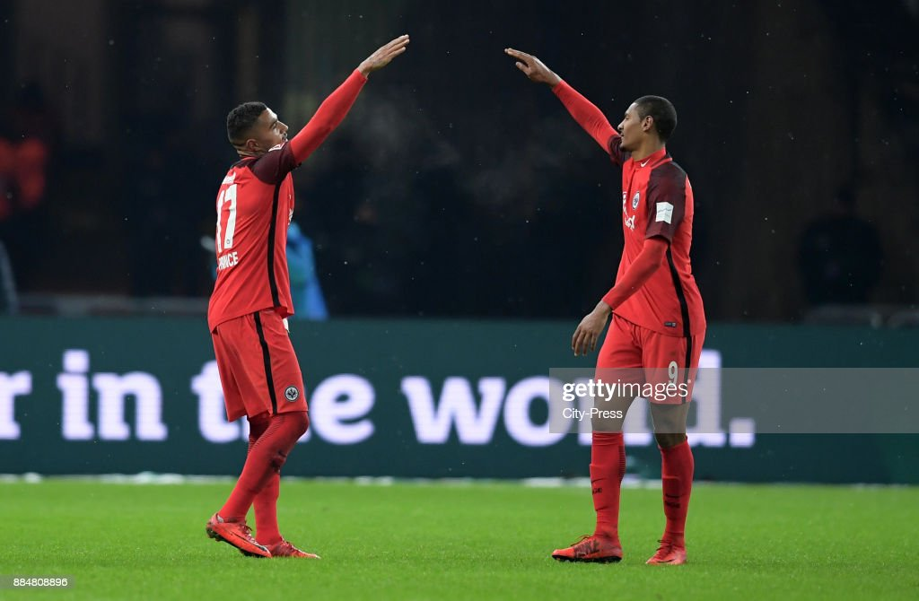 Kevin-Prince Boateng and Sébastien Haller of Eintracht Frankfurt celebrate after scoring the 1:2 during the game between Hertha BSC and the Eintracht Frankfurt on december 3, 2017 in Berlin, Germany.