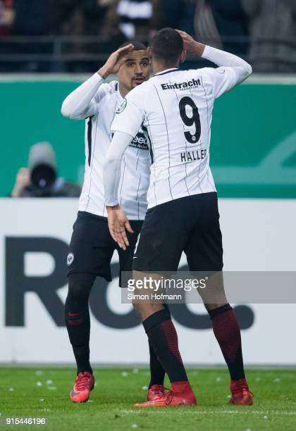 KevinPrince Boateng and team mate Sebastien Haller of Frankfurt celebrate their side's second goal during the DFB Cup quarter final match between...