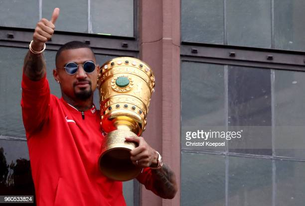 KevinPrince Boateng celebrates the winning DFB Cup at the Roemer on May 20 2018 in Frankfurt am Main Germany
