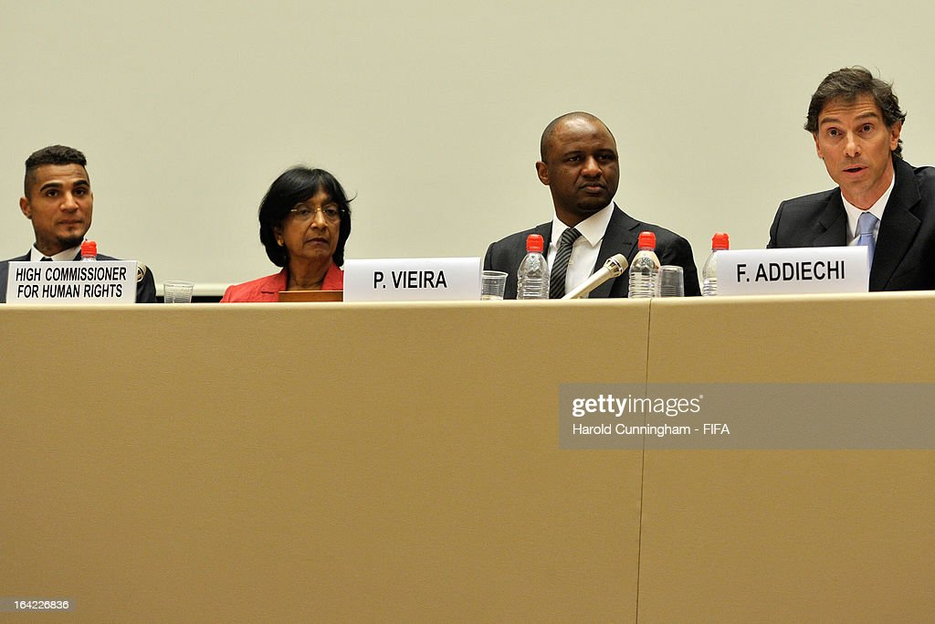 Kevin-Prince Boateng of AC Milan and Ghana, Navi Pillay, UN High Commissioner for Human Rights, Patrick Vieira, Football Development Executive at Manchester City Football Club, and Federico Addiechi, FIFA Head of Corporate Social Responsibility, attend the discussion panel on the International Day for the Elimination of Racial Discrimination at United Nations Office in Geneva on March 21, 2013 in Geneva, Switzerland. On the United Nations' (UN) International Day for the Elimination of Racial Discrimination, the Office of the High Commissioner for Human Rights (OHCHR) see today as a unique opportunity to celebrate diversity and urged all sportswomen and sportsmen, sports authorities and fans to take decisive action against intolerance and racism in sports and celebrate human achievement and excellence beyond the narrow boundaries of ethnicity, race or nationality.