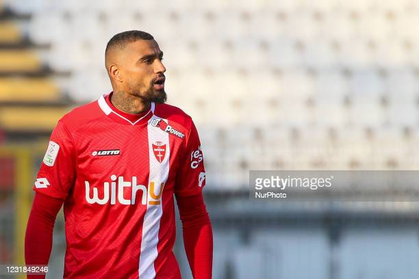 Kevin-Prince Boateng of AC Monza looks on during the Serie B match between AC Monza and Venezia FC at Stadio Brianteo on March 20, 2021 in Monza,...