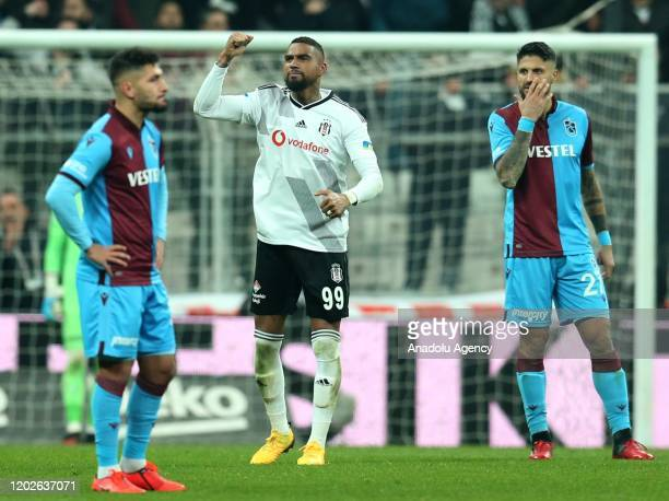 KevinPrince Boateng of Besiktas celebrates after scoring a goal during the Turkish super Lig soccer match between Besiktas and Trabzonspor at the...
