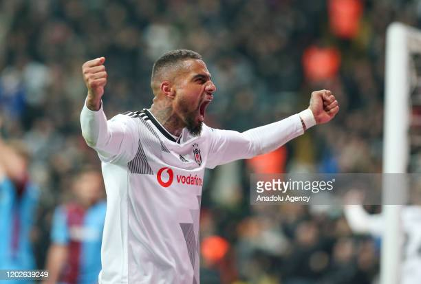 Kevin-Prince Boateng of Besiktas celebrates after their team scored a goal during the Turkish super Lig soccer match between Besiktas and Trabzonspor...