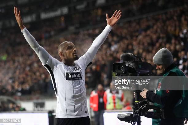 KevinPrince Boateng of Eintracht Frankfurt celebrates After scoring his teams first goal during the Bundesliga match between Eintracht Frankfurt and...