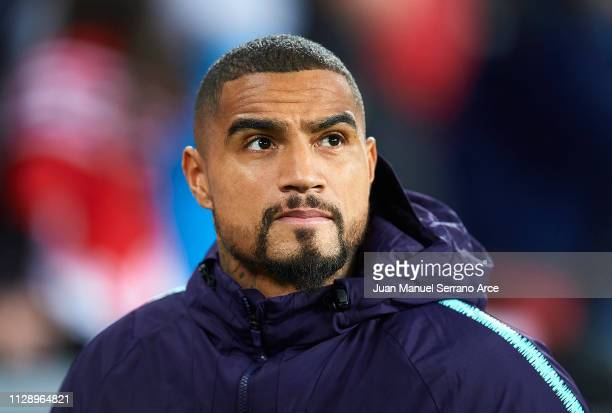 KevinPrince Boateng of FC Barcelona looks on prior to the start the La Liga match between Athletic Club and FC Barcelona at San Mames Stadium on...