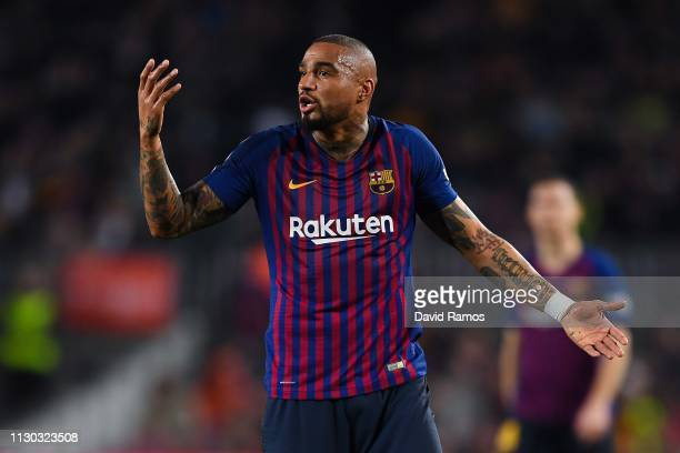 KevinPrince Boateng of FC Barcelona reacts during the La Liga match between FC Barcelona and Real Valladolid CF at Camp Nou on February 16 2019 in...